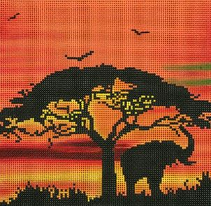 click here to view larger image of African Sunset (hand painted canvases)