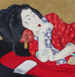 click here to view larger image of Geisha in Repose (hand painted canvases)