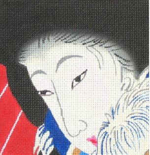 click here to view larger image of Geisha w/Fur (hand painted canvases)