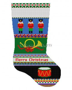 click here to view larger image of Bold Stripe Nutcracker Stocking (hand painted canvases)