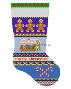click here to view larger image of Bold Stripe Gingerbread Stocking (hand painted canvases)