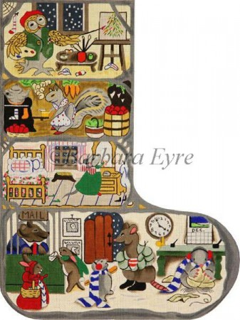 click here to view larger image of Animal Tree Condominium Stocking (hand painted canvases)