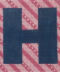 click here to view larger image of Monogram - Navy Letter on Pink Stripes (hand painted canvases)