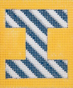click here to view larger image of Monogram - Navy/Grey Stripes on Yellow (hand painted canvases)