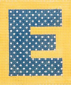 click here to view larger image of Monogram - Navy Letter on Yellow (hand painted canvases)