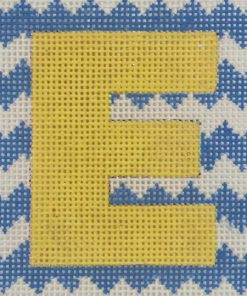 click here to view larger image of Monogram - Yellow Letter on Blue Chevron (hand painted canvases)