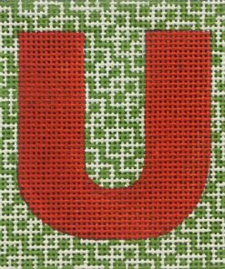 click here to view larger image of Monogram - Red Letter on Green Pattern (hand painted canvases)