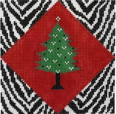 click here to view larger image of Christmas Tree on Zebra (hand painted canvases)