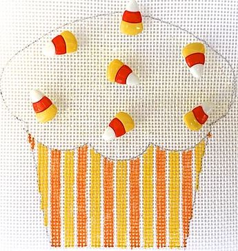 click here to view larger image of Candy Corn Cupcake (hand painted canvases)