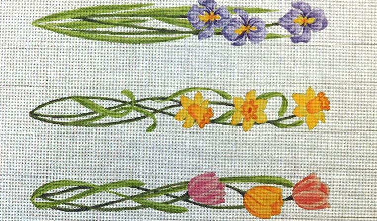 click here to view larger image of Luggage Straps - May Flowers  (hand painted canvases)