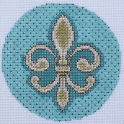 click here to view larger image of Fleur di Lis Round (hand painted canvases)