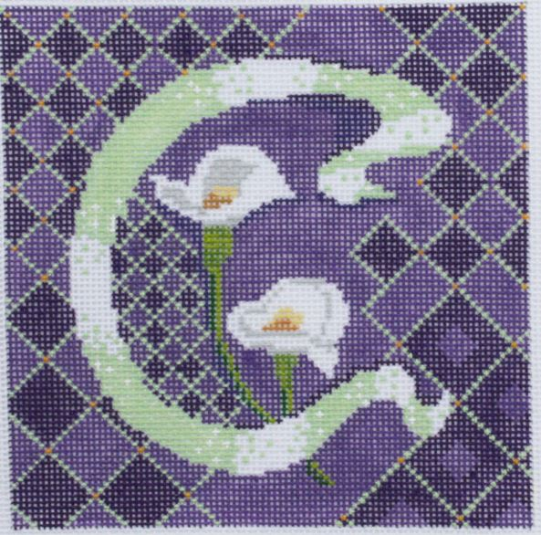 click here to view larger image of Letter C w/Calla Lillies (hand painted canvases)