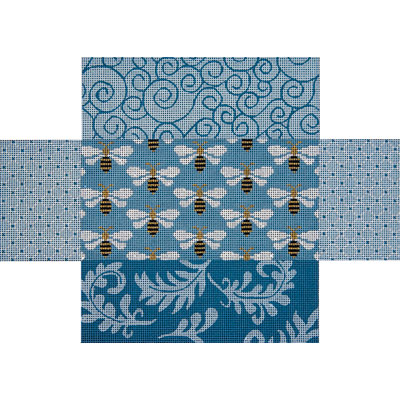 click here to view larger image of Blue Patchwork w/Bees Brick Cover (hand painted canvases)