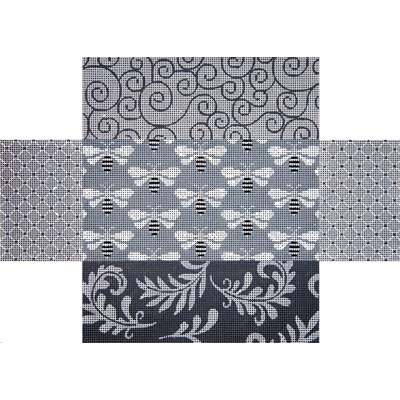 click here to view larger image of Grey Patchwork w/Bees Brick Cover (hand painted canvases)