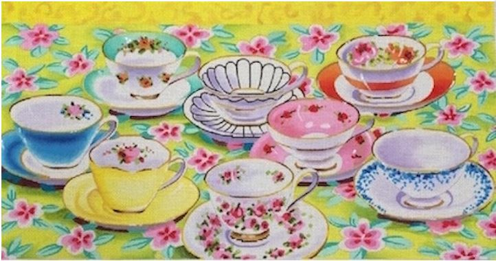 click here to view larger image of Teacups (hand painted canvases)