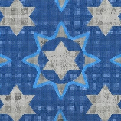 click here to view larger image of Medallion Star Tallis Blue (hand painted canvases)