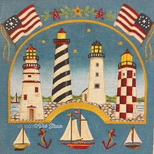 click here to view larger image of Four Lighthouses    (hand painted canvases)