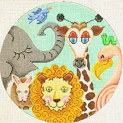click here to view larger image of Animal Collage Round (hand painted canvases)