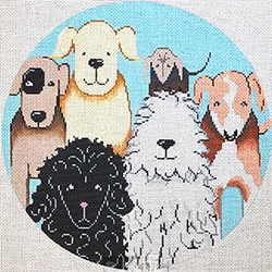 click here to view larger image of Doggies Collage Round (hand painted canvases)