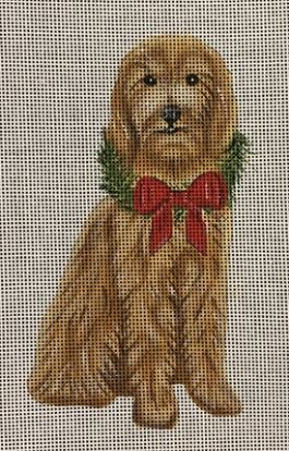 click here to view larger image of Holiday Goldendoodle Ornament (hand painted canvases)