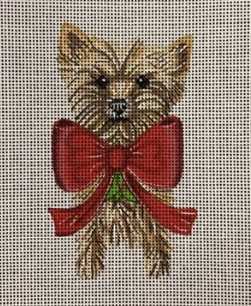click here to view larger image of Holiday Yorkie Ornament (hand painted canvases)