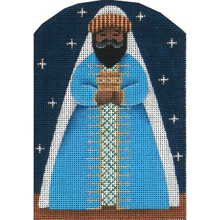 click here to view larger image of Nativity - Dome Blue Wise Man (hand painted canvases)