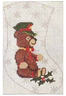 click here to view larger image of Teddy Bear Mini Stocking (hand painted canvases)