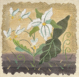 click here to view larger image of  Ivory Woods Trillium (hand painted canvases)