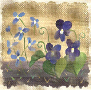 click here to view larger image of  Ivory Woods Violets (hand painted canvases)