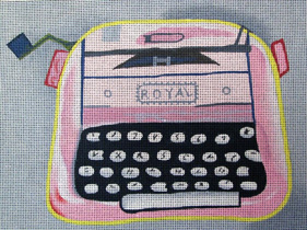 click here to view larger image of Pink and Grey Royal Typewriter (hand painted canvases)