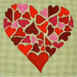 click here to view larger image of Mosaic Hearts (hand painted canvases)
