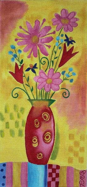click here to view larger image of Flowers in Vase (hand painted canvases)