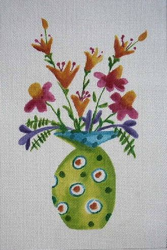 click here to view larger image of Green Vase (hand painted canvases)