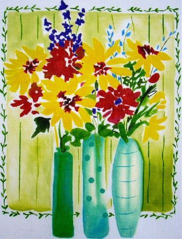 click here to view larger image of Flowers in Tall Vases (hand painted canvases)
