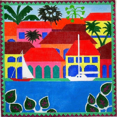 click here to view larger image of Paradise Port (hand painted canvases)