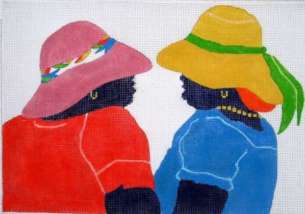 click here to view larger image of Market Chat (hand painted canvases)