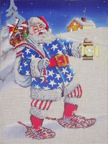 click here to view larger image of Stars and Stripes Santa (hand painted canvases)