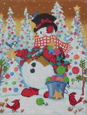 click here to view larger image of Snowman w/Stars and Birds (hand painted canvases)