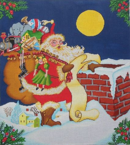 click here to view larger image of Santa on the Roof (hand painted canvases)