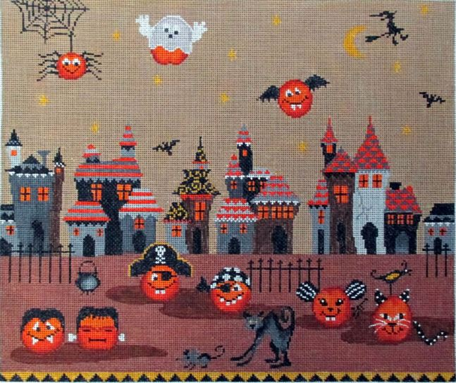 click here to view larger image of Cheeky Pumpkins Trick or Treat (hand painted canvases)