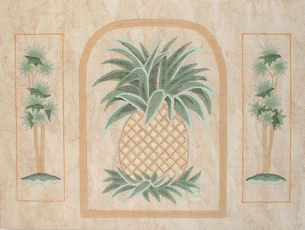click here to view larger image of Pineapple/Palm Trees (hand painted canvases)