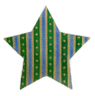 click here to view larger image of Christmas Stripes Star (hand painted canvases)