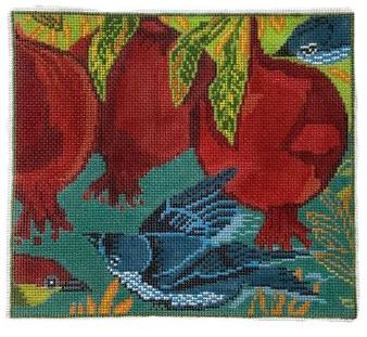 click here to view larger image of Blue Bird w/Pomegranates  (hand painted canvases)