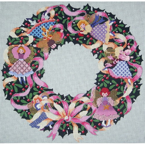 click here to view larger image of Angel Wreath (hand painted canvases)
