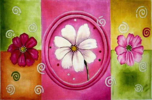 click here to view larger image of Pink & White Sections (hand painted canvases)