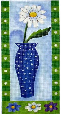 click here to view larger image of Daisy in Blue Vase (hand painted canvases)