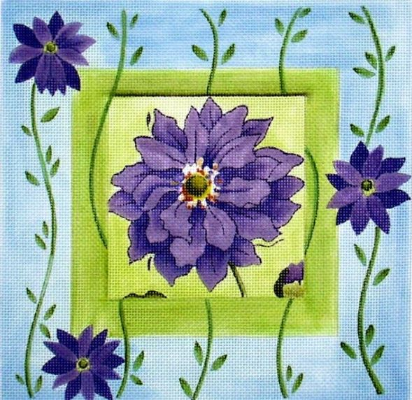click here to view larger image of Purple Flowers in Square (hand painted canvases)