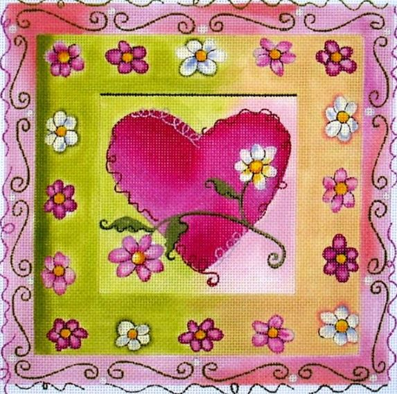 click here to view larger image of Pink Hearts w/Flowers (hand painted canvases)