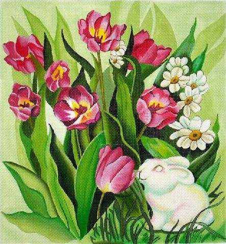 click here to view larger image of Tulips w/Bunny (hand painted canvases)