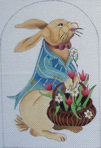 click here to view larger image of Bunny w/Flowers  (hand painted canvases)